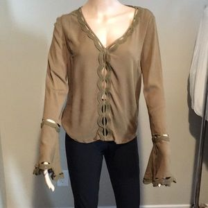 Guess olive green top with bell sleeves